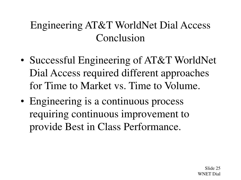 Engineering AT&T WorldNet Dial Access