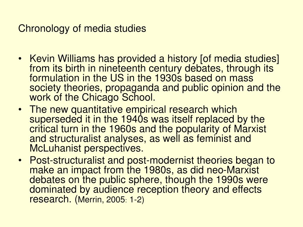 Chronology of media studies