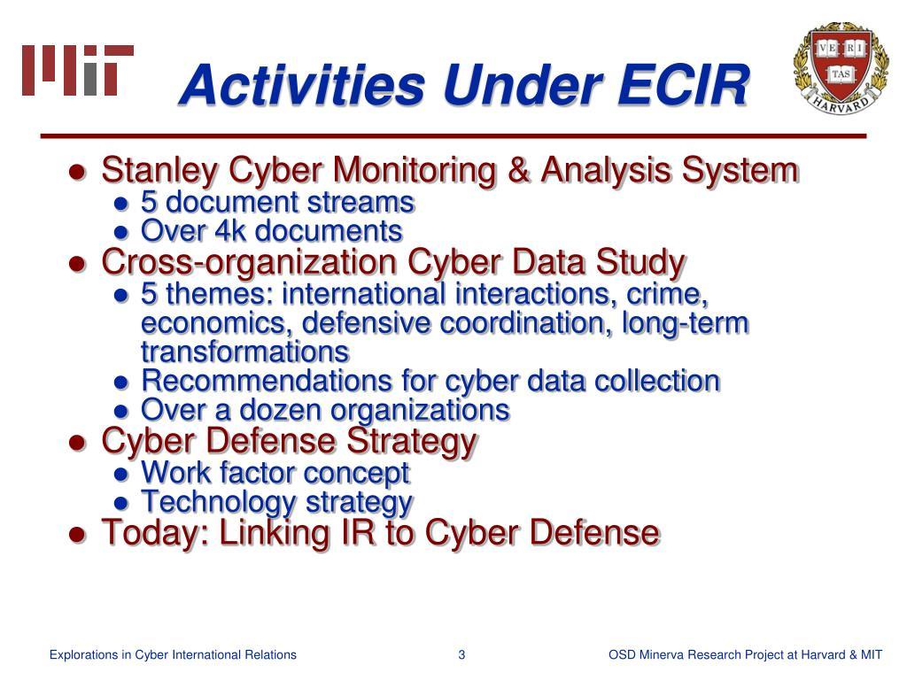 Activities Under ECIR