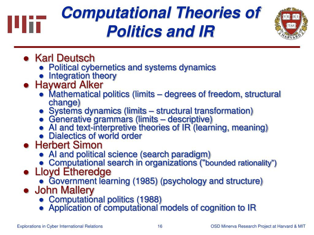 Computational Theories of Politics and IR