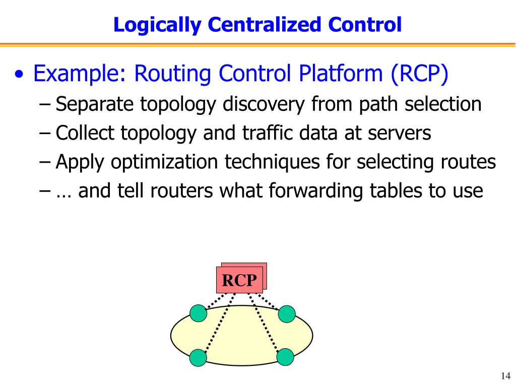 Logically Centralized Control