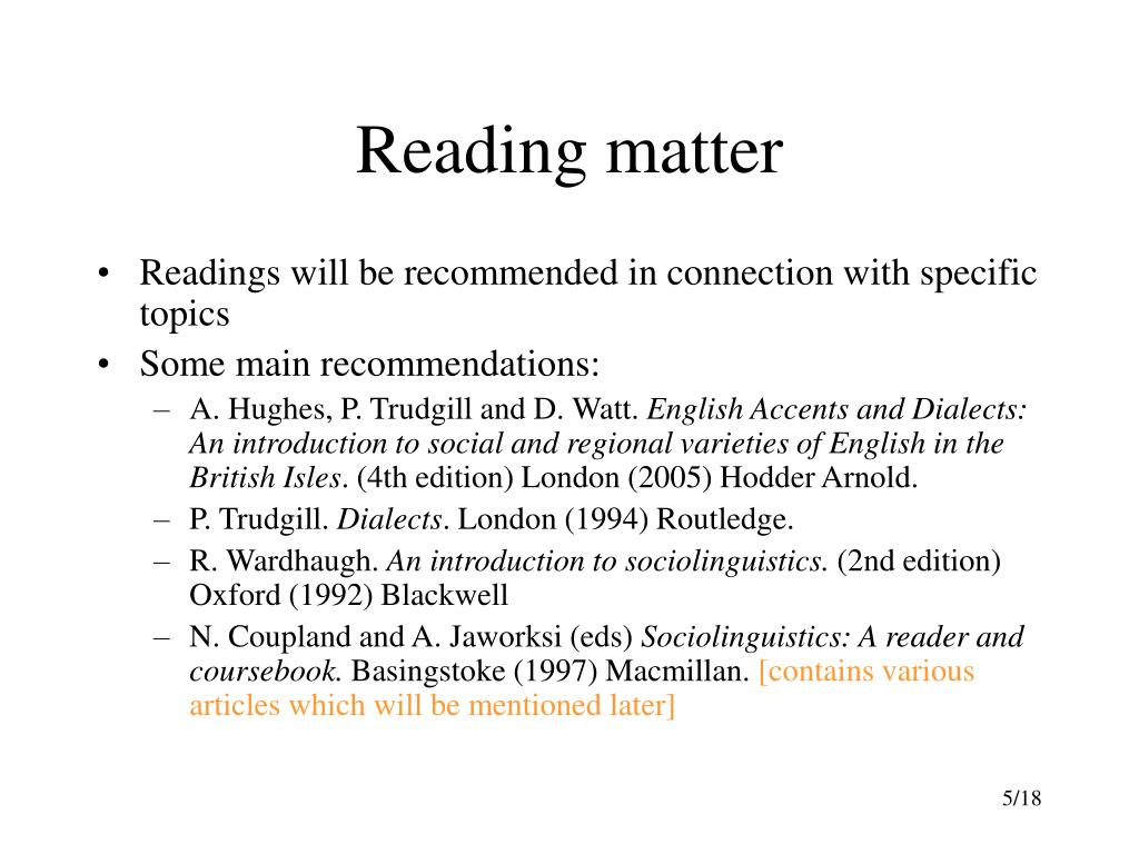 Reading matter