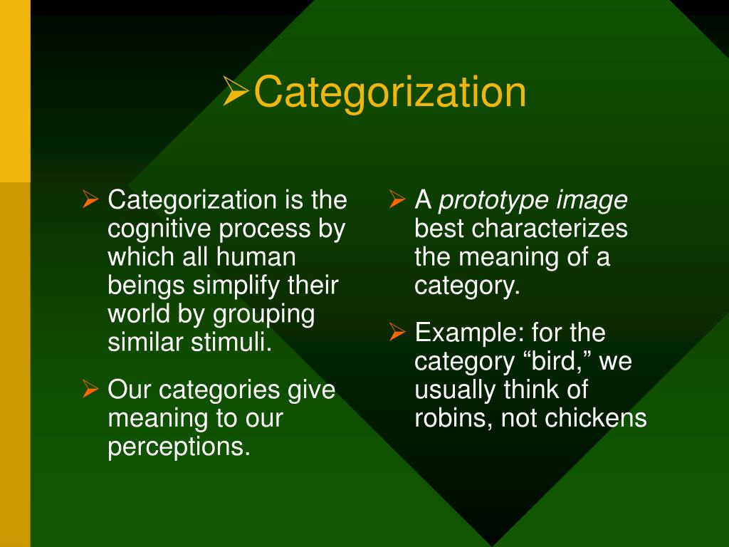Categorization is the cognitive process by which all human beings simplify their world by grouping similar stimuli.