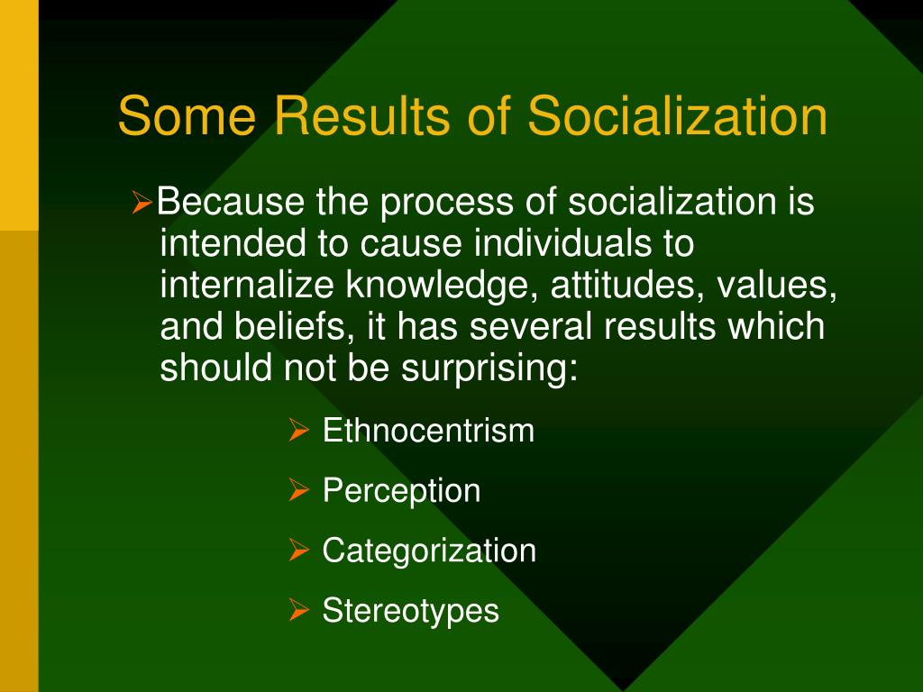 Some Results of Socialization