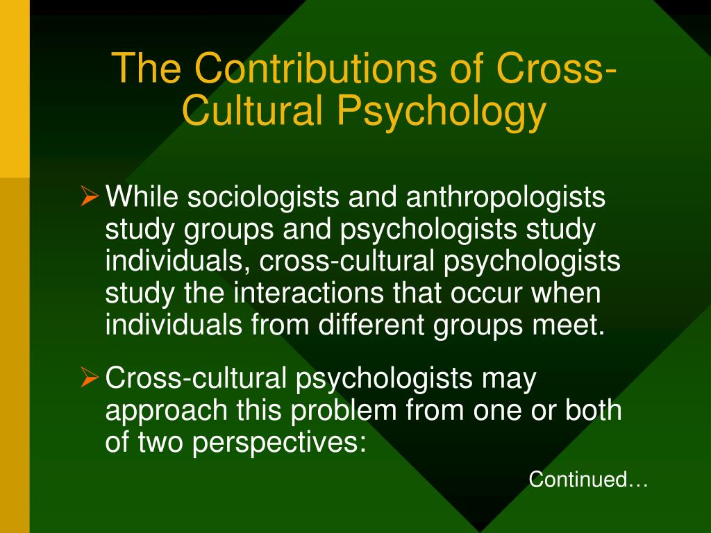 The Contributions of Cross-Cultural Psychology