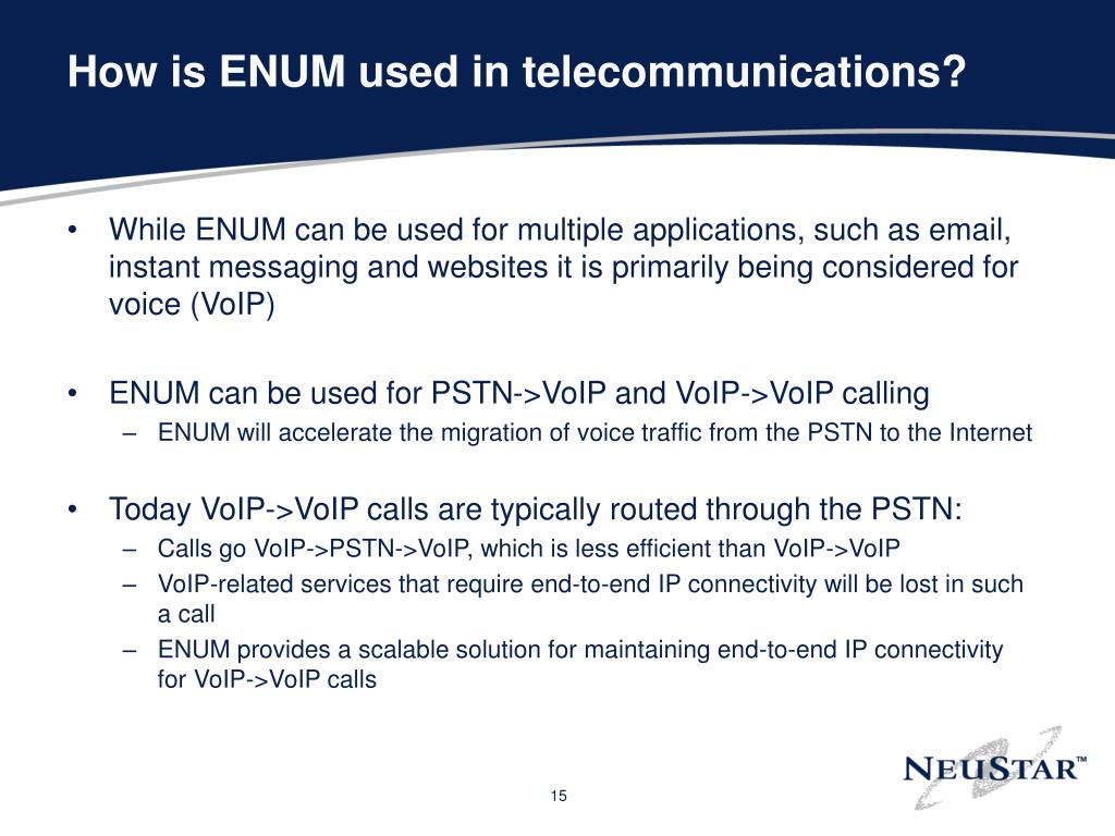 How is ENUM used in telecommunications?