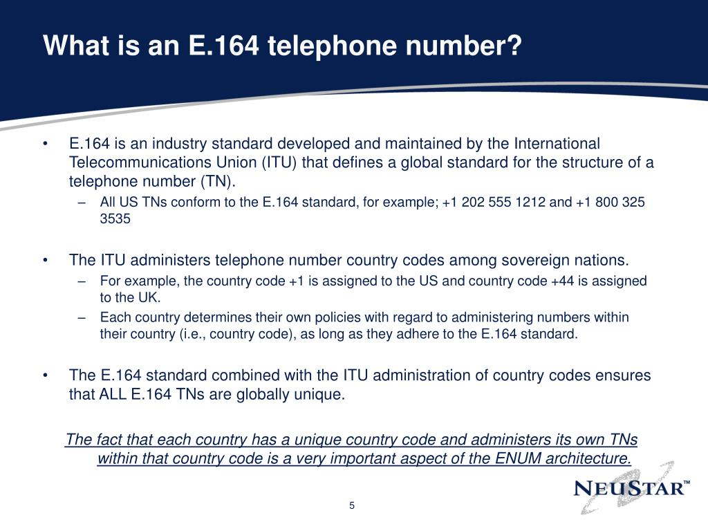 What is an E.164 telephone number?