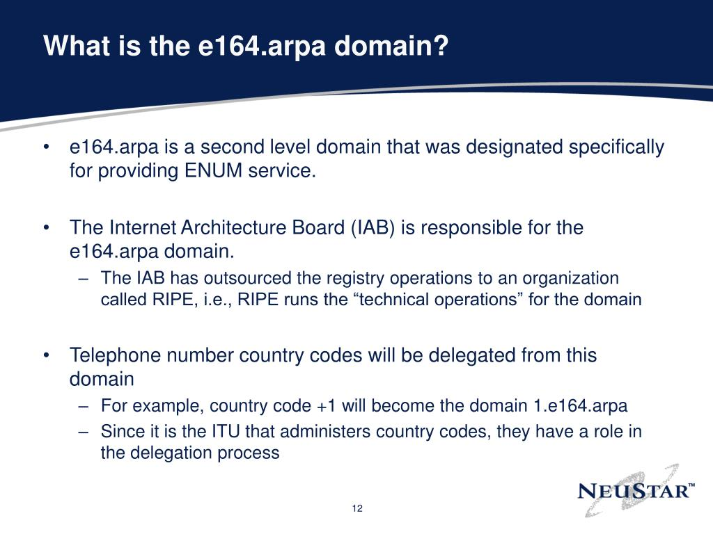 What is the e164.arpa domain?
