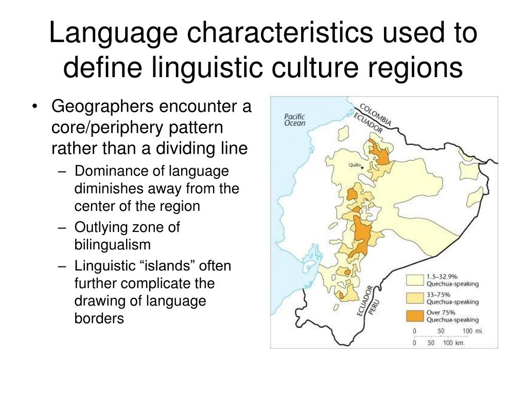 Language characteristics used to define linguistic culture regions