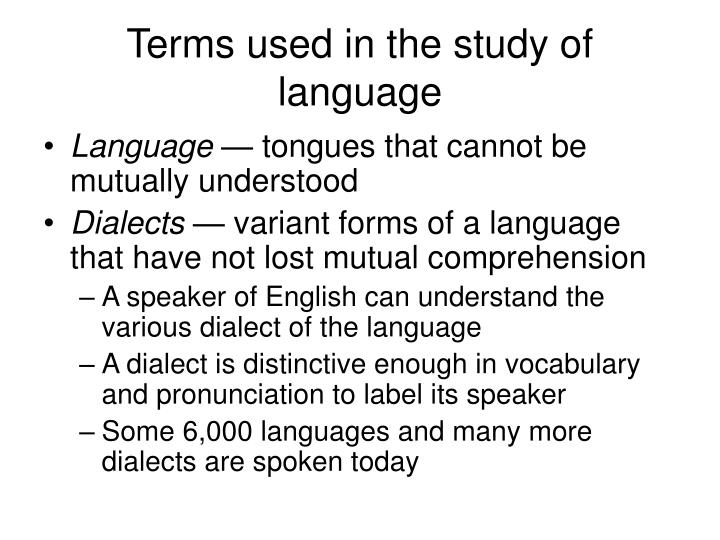 Terms used in the study of language