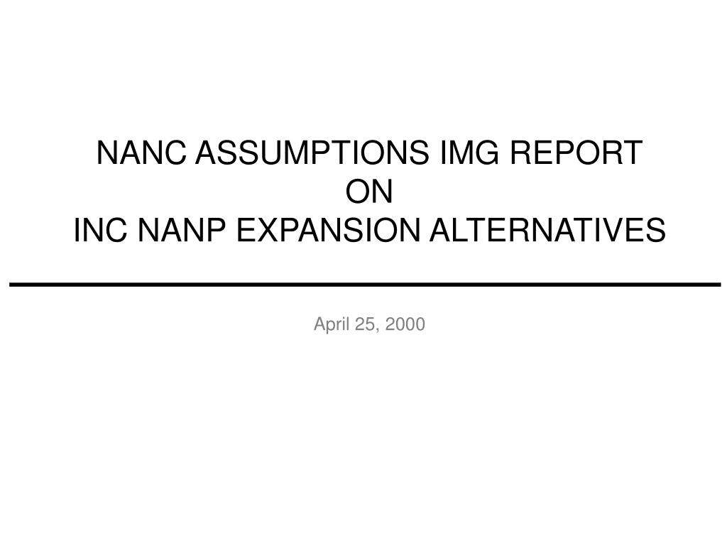 NANC ASSUMPTIONS IMG REPORT