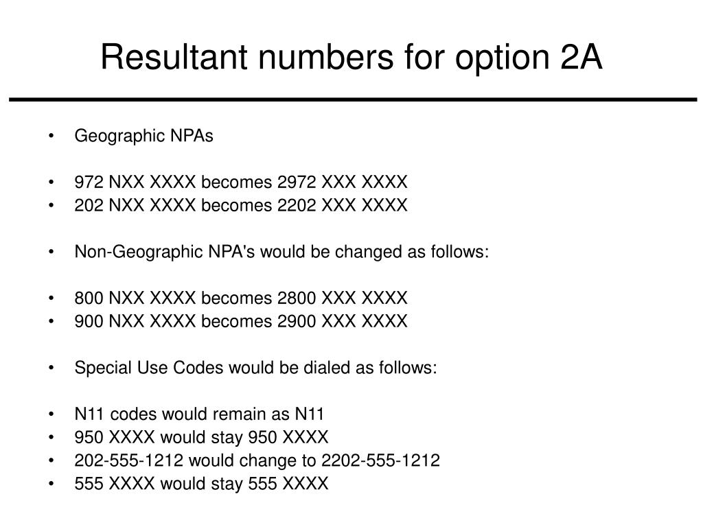 Resultant numbers for option 2A