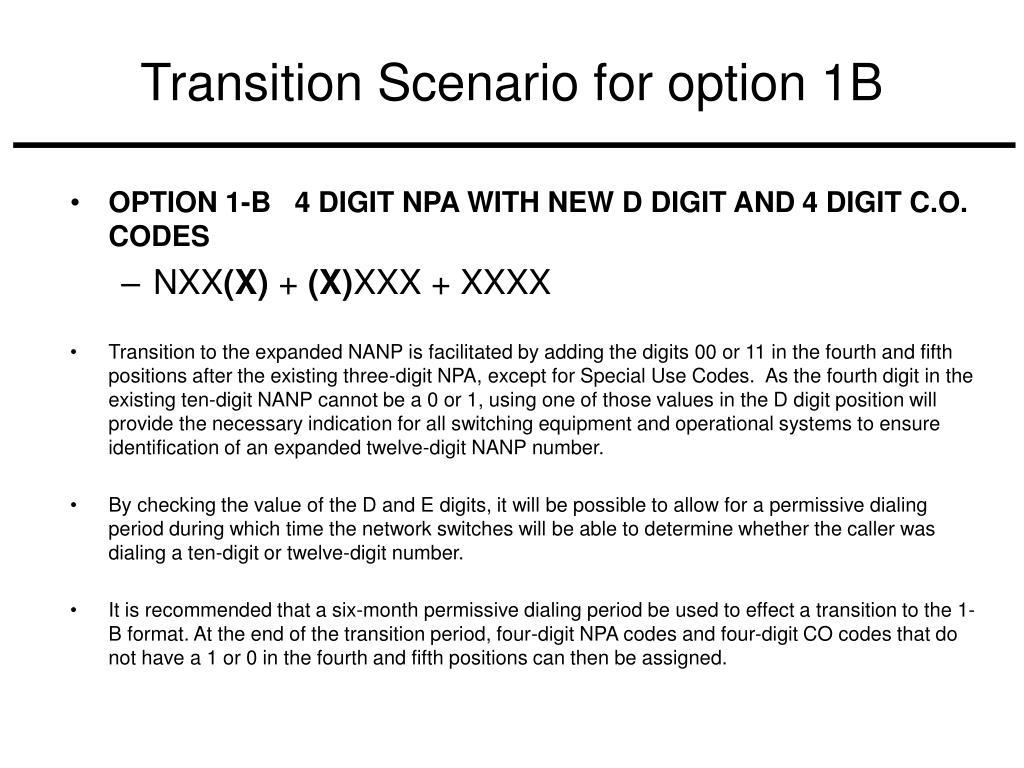 Transition Scenario for option 1B