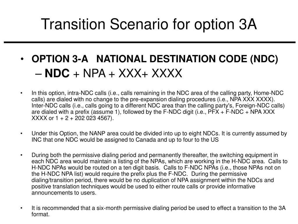Transition Scenario for option 3A