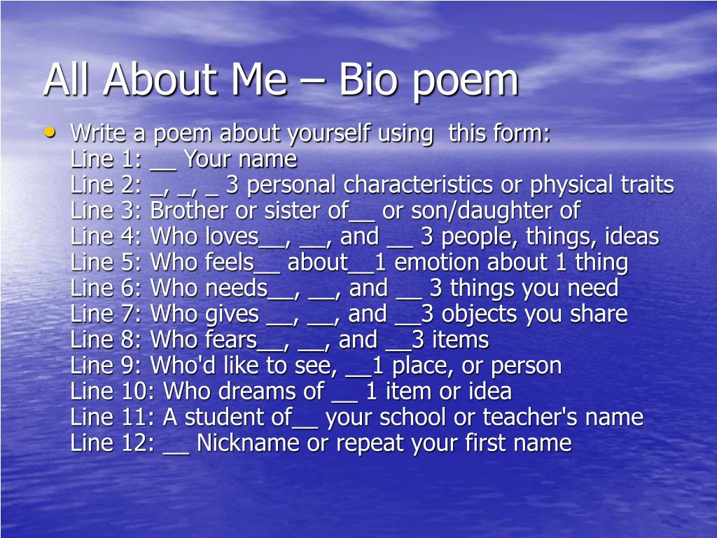 All About Me – Bio poem