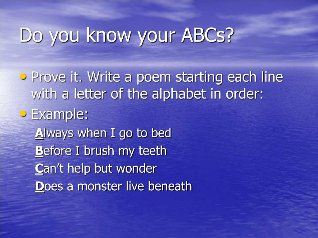 Do you know your ABCs?
