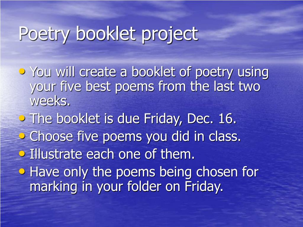 Poetry booklet project