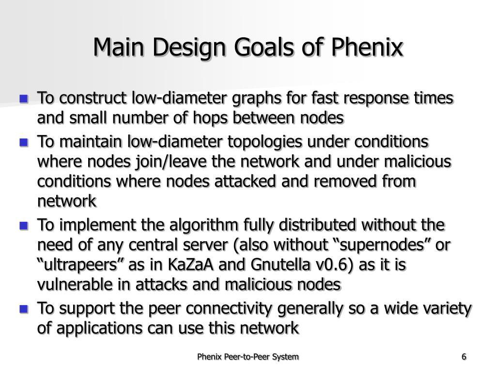 Main Design Goals of Phenix