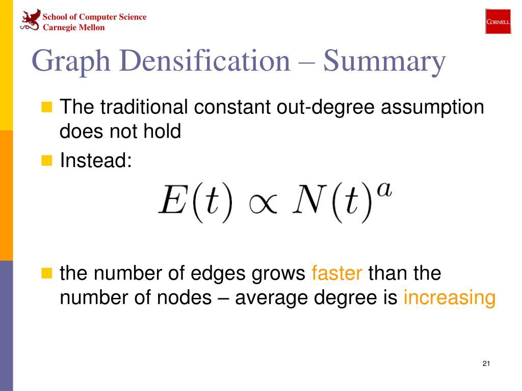 Graph Densification – Summary