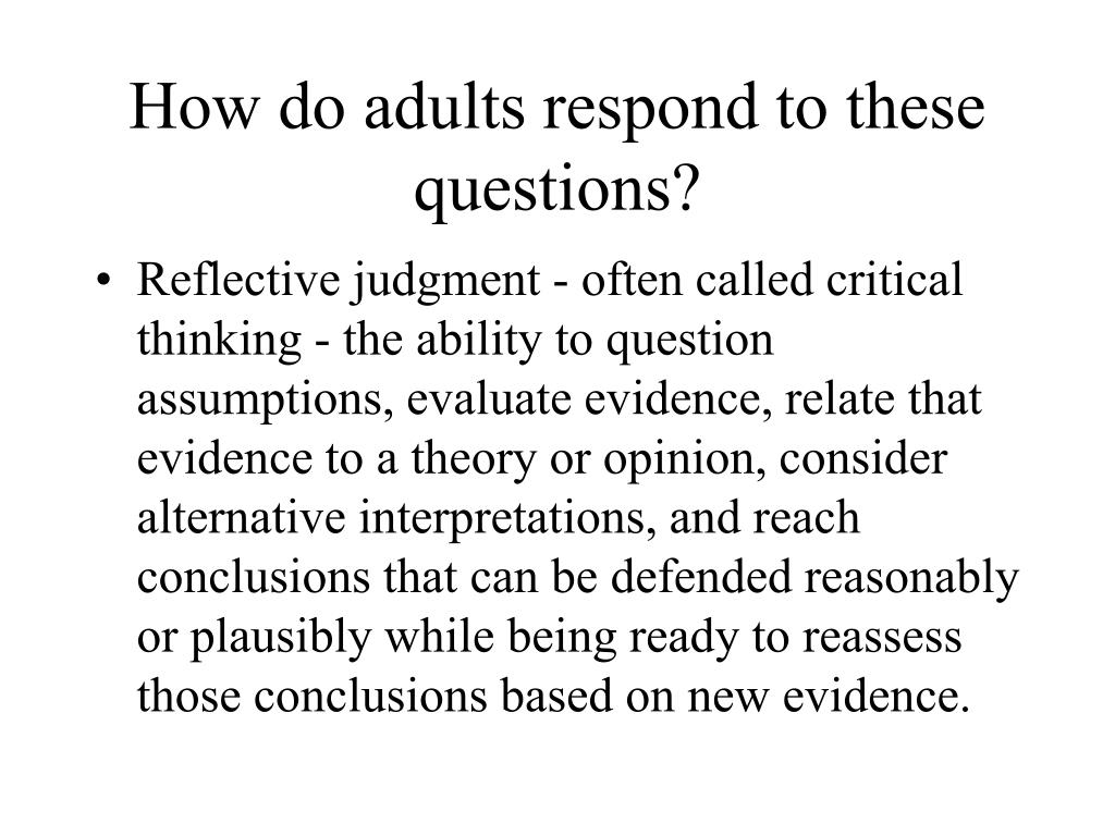 How do adults respond to these questions?