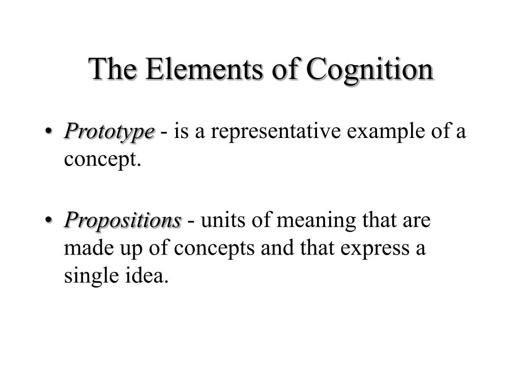 The Elements of Cognition