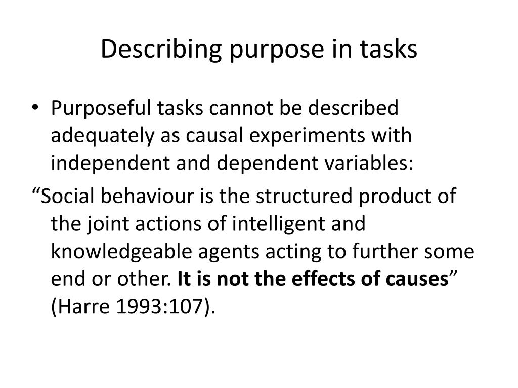 Describing purpose in tasks