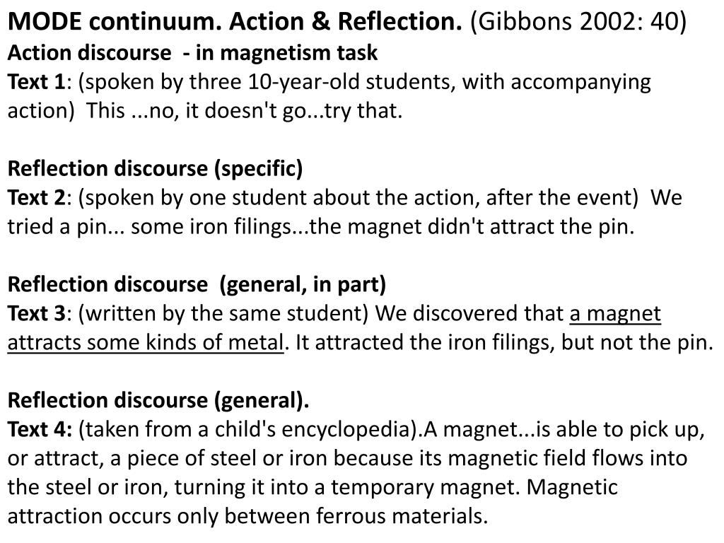 MODE continuum. Action & Reflection.