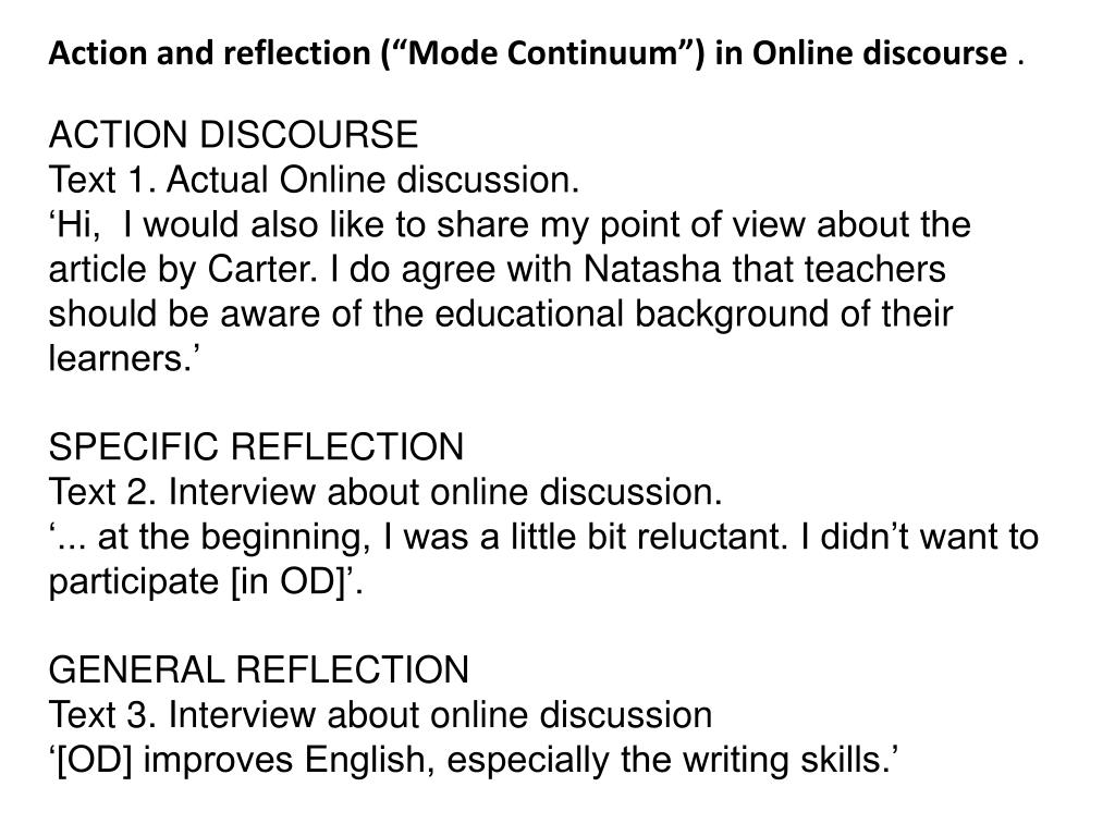 """Action and reflection (""""Mode Continuum"""")"""