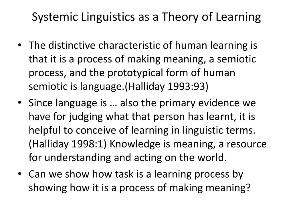 Systemic Linguistics as a Theory of Learning