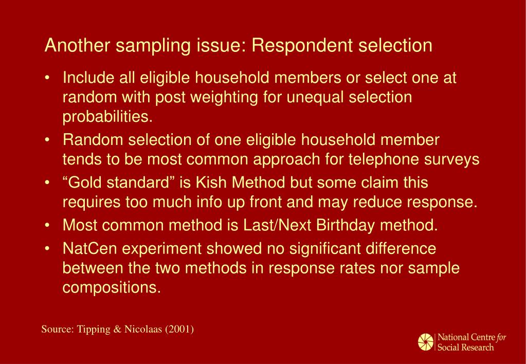 Another sampling issue: Respondent selection