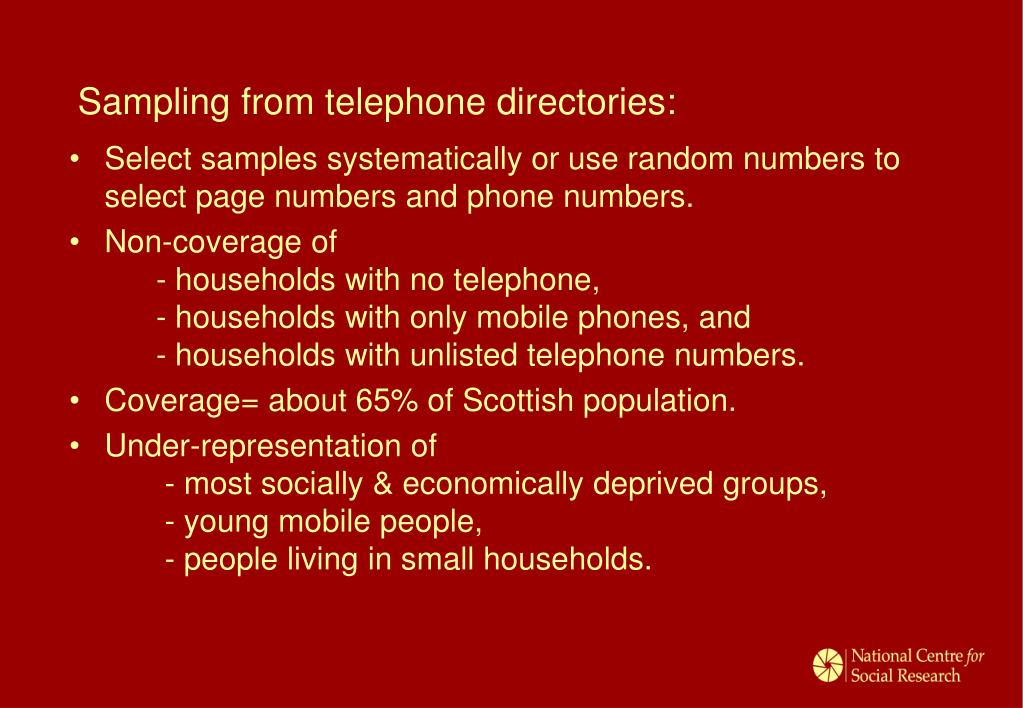 Sampling from telephone directories:
