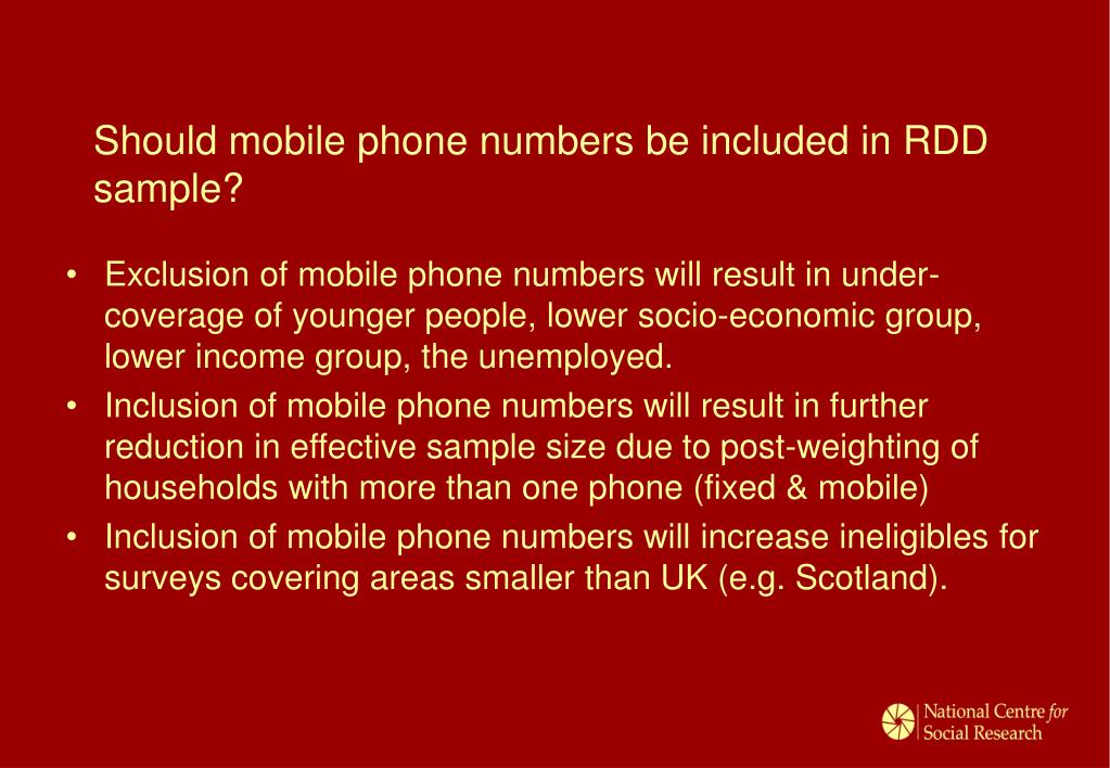 Should mobile phone numbers be included in RDD sample?