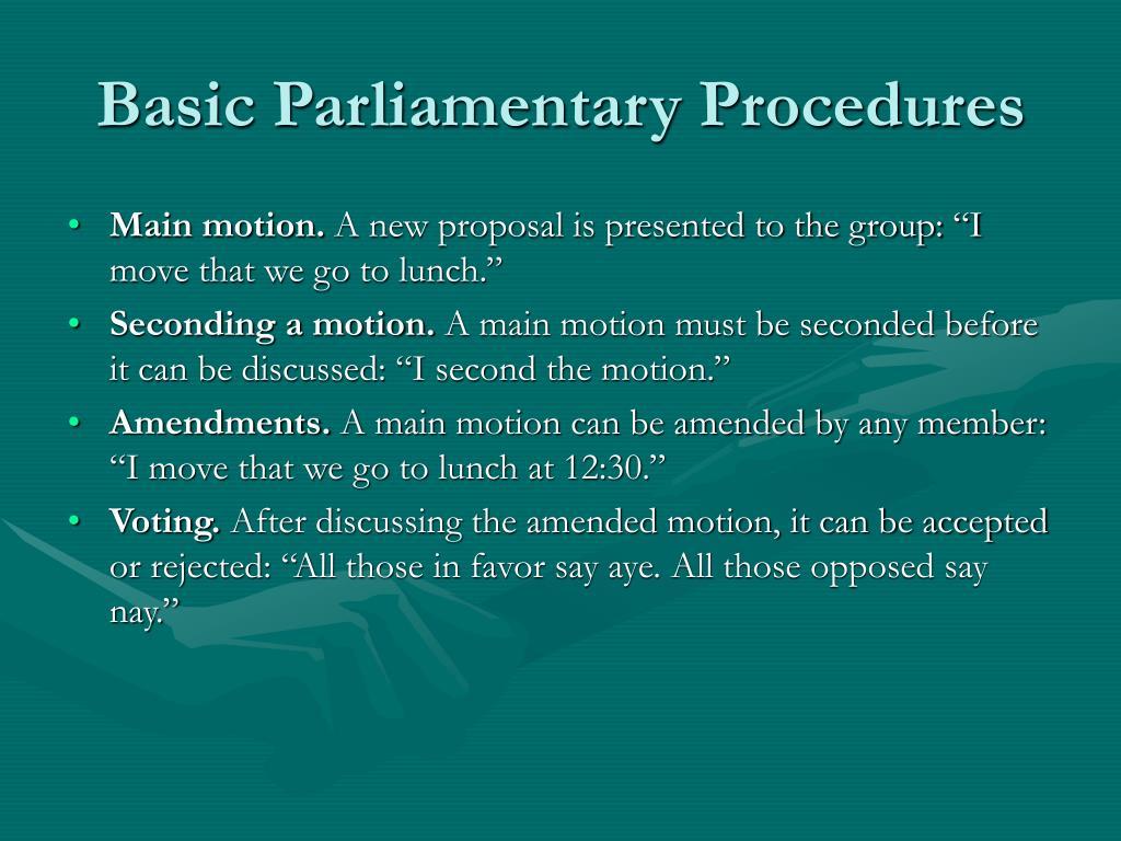 Basic Parliamentary Procedures