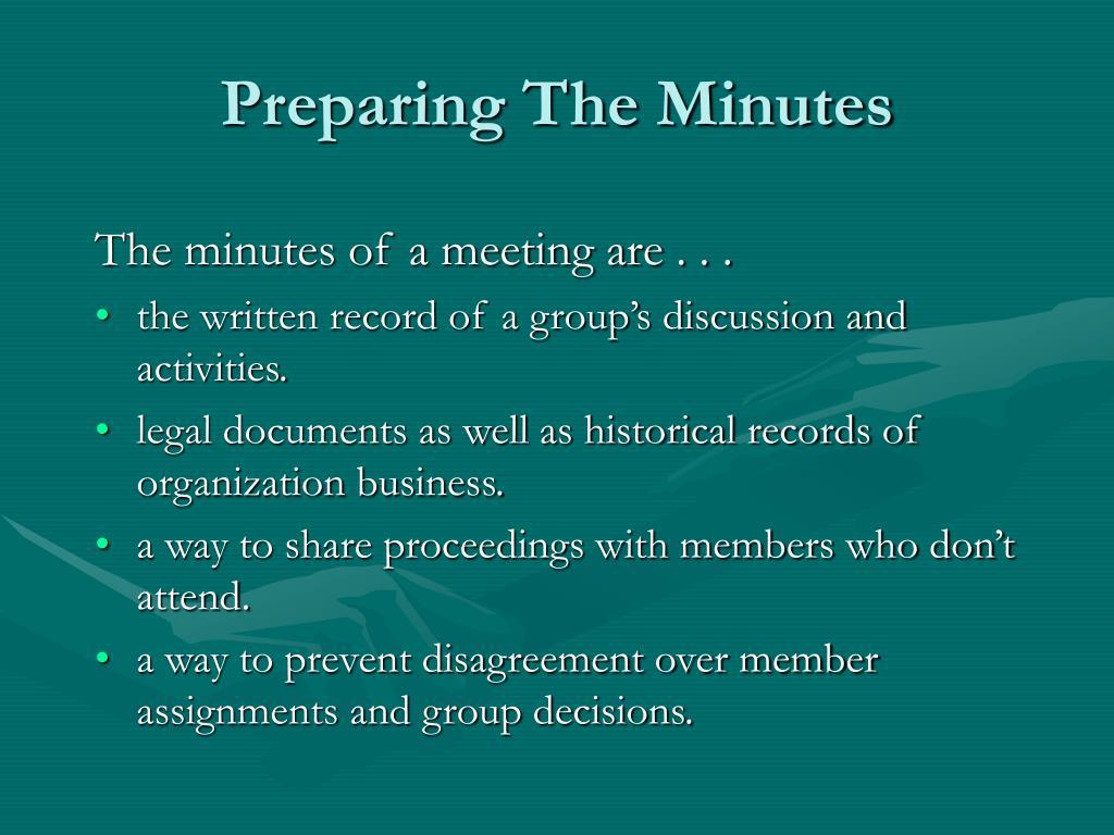 Preparing The Minutes