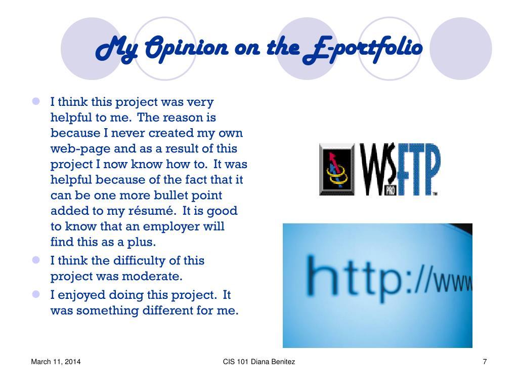 My Opinion on the E-portfolio