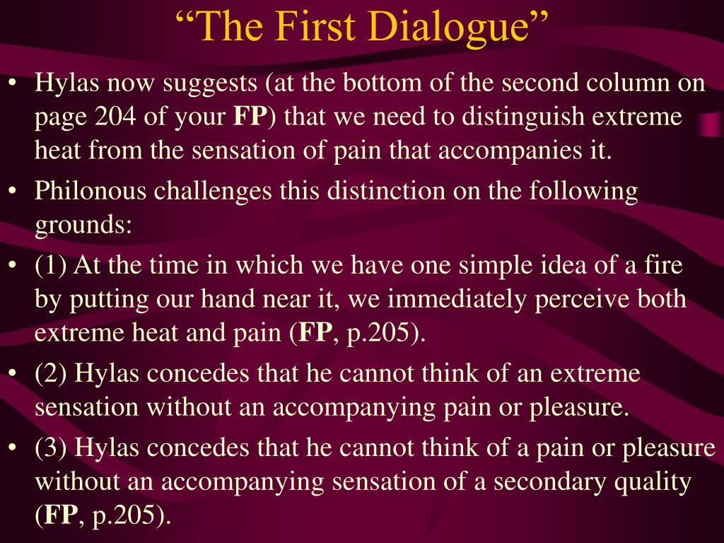 """The First Dialogue"""
