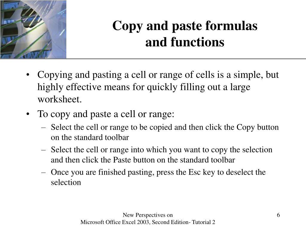 Copy and paste formulas