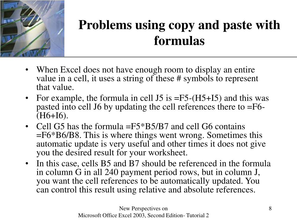 Problems using copy and paste with formulas