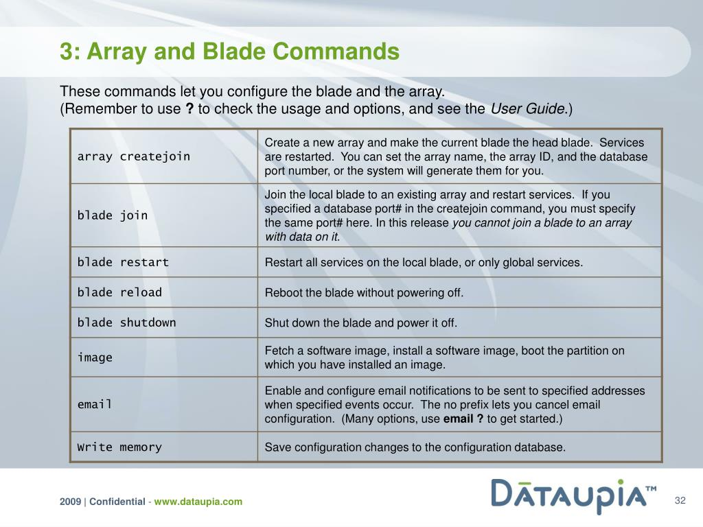 3: Array and Blade Commands