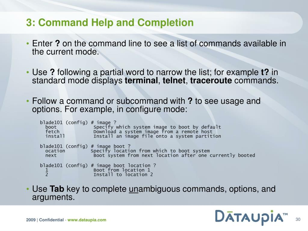 3: Command Help and Completion