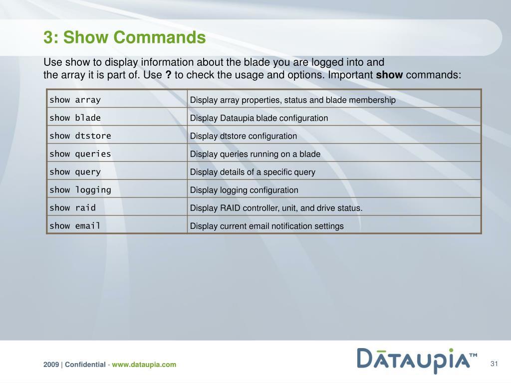 3: Show Commands