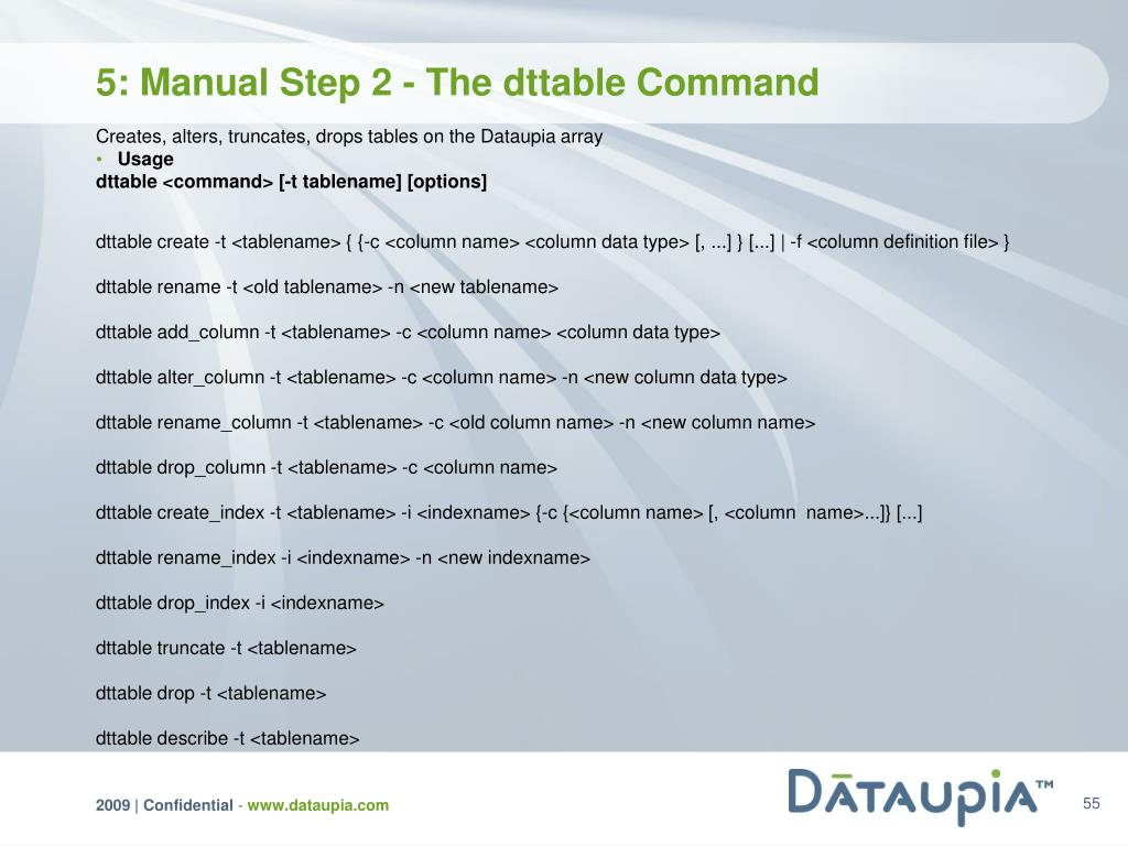 5: Manual Step 2 - The dttable Command