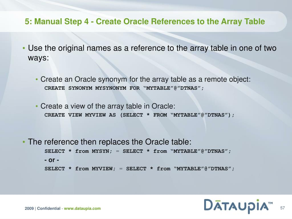 5: Manual Step 4 - Create Oracle References to the Array Table