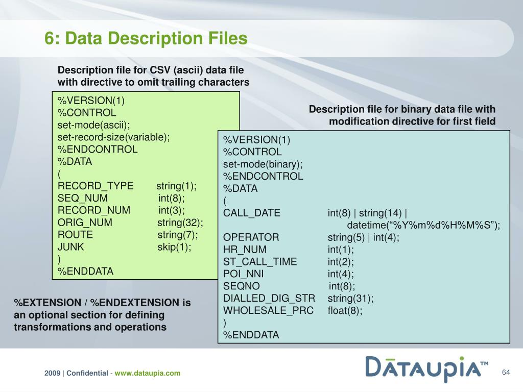 6: Data Description Files