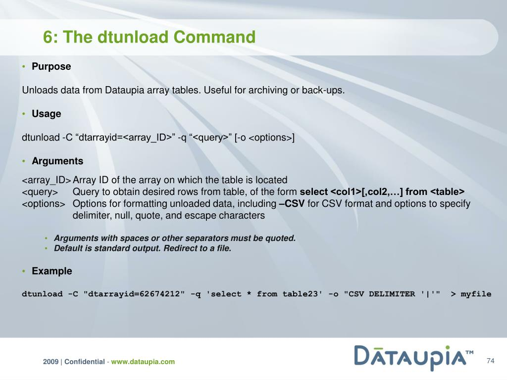 6: The dtunload Command