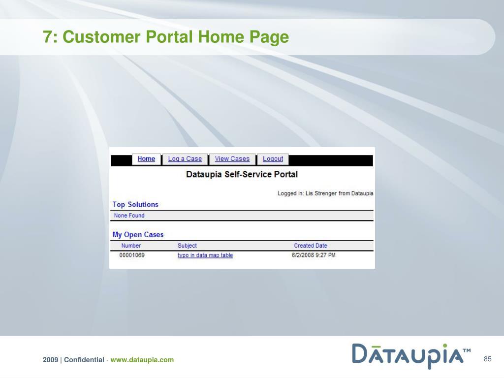 7: Customer Portal Home Page