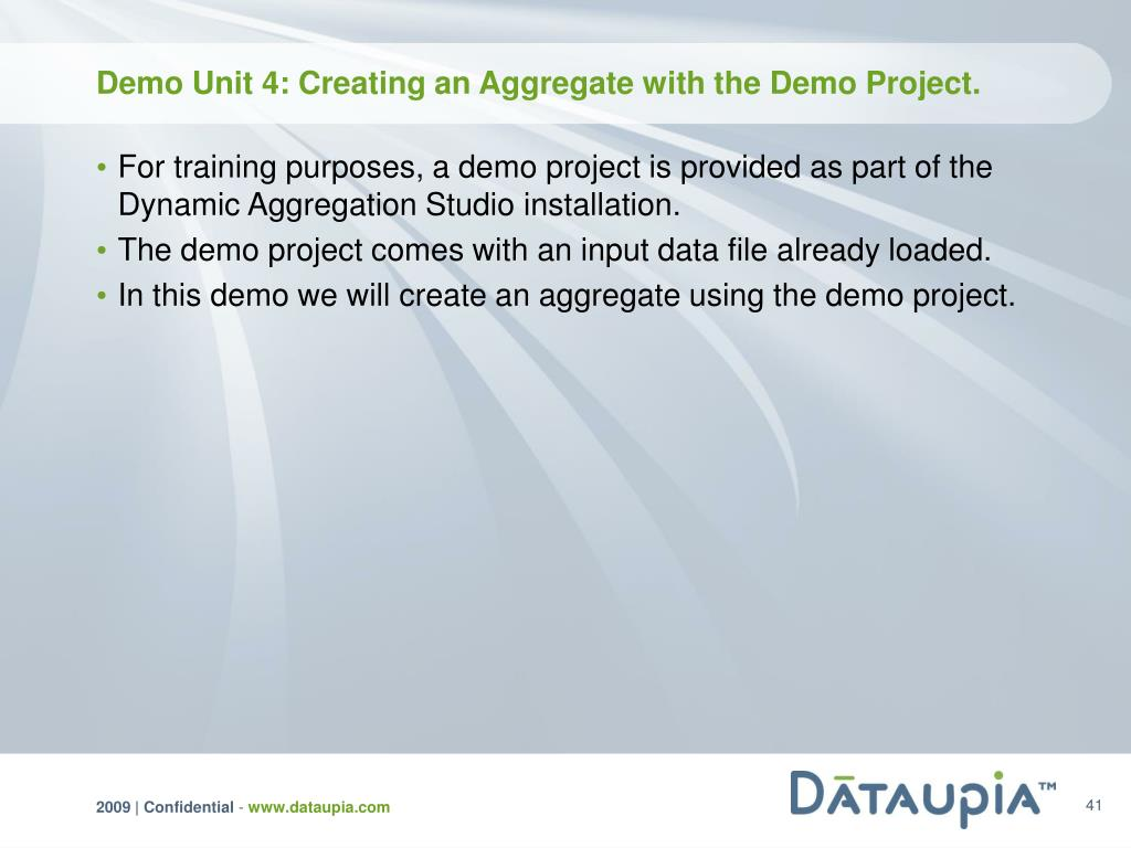 Demo Unit 4: Creating an Aggregate with the Demo Project.