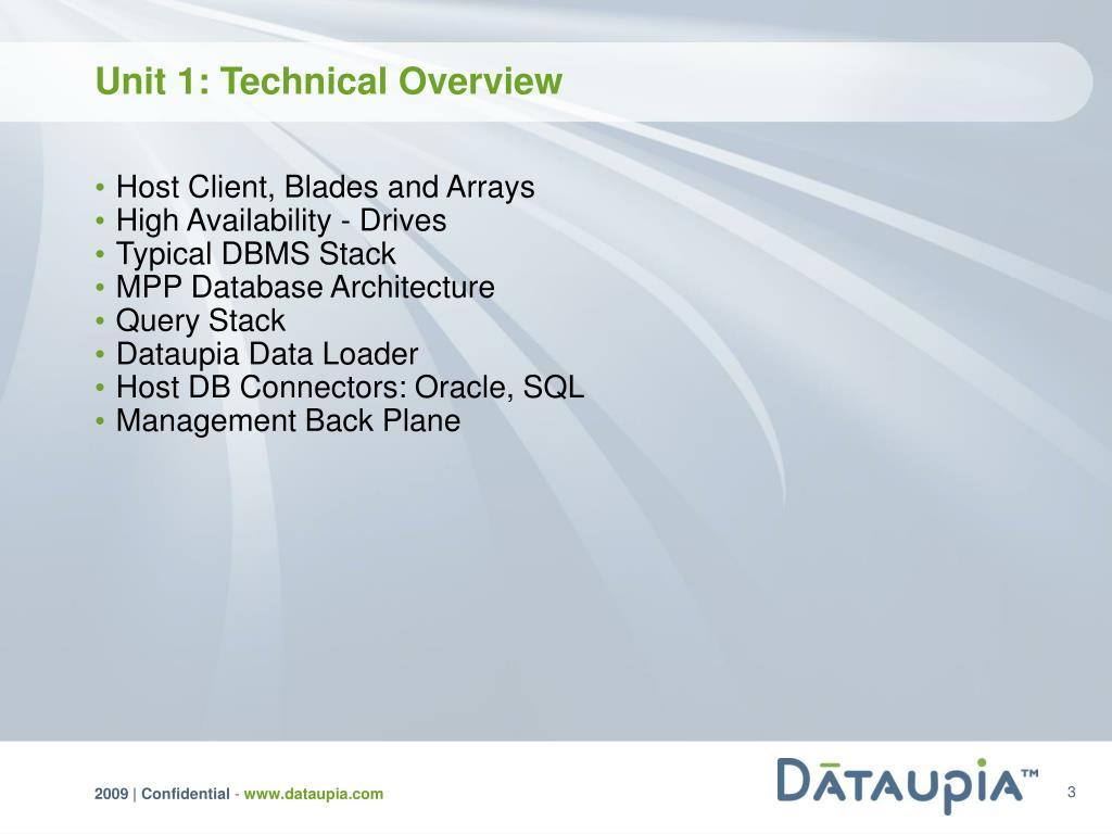 Unit 1: Technical Overview