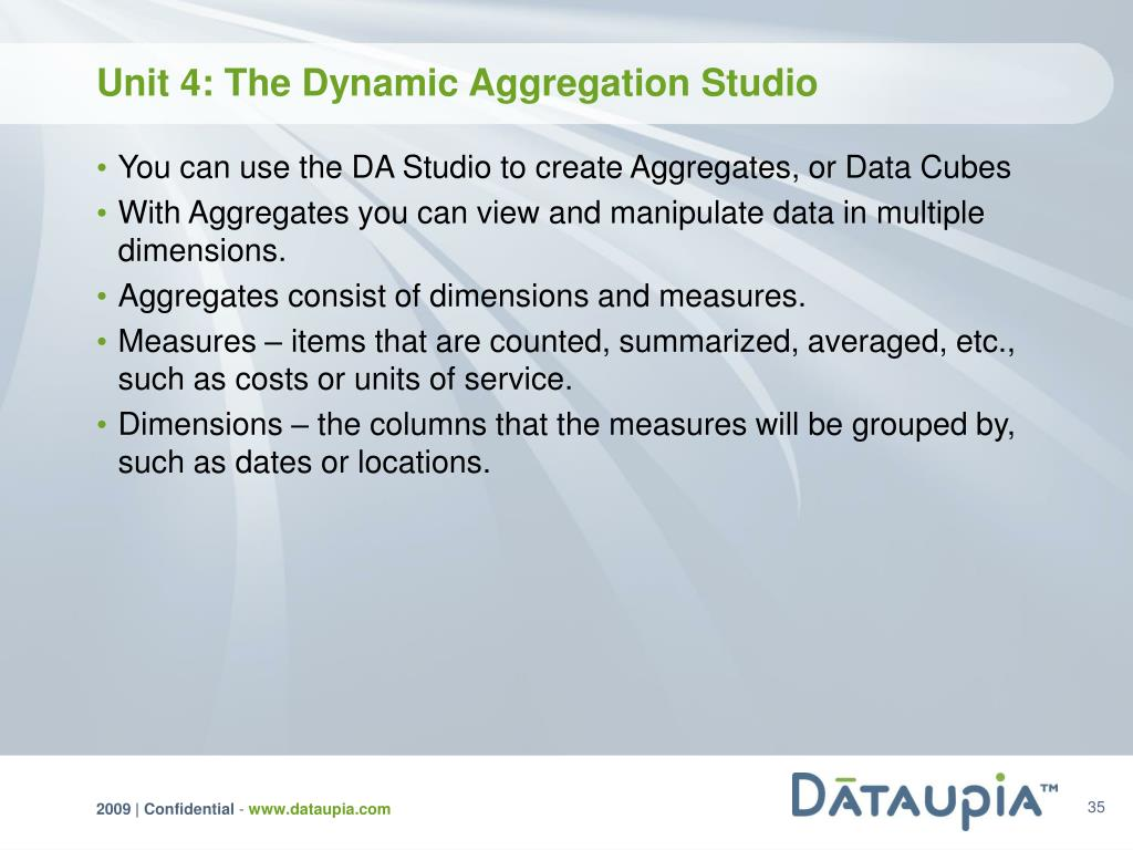 Unit 4: The Dynamic Aggregation Studio