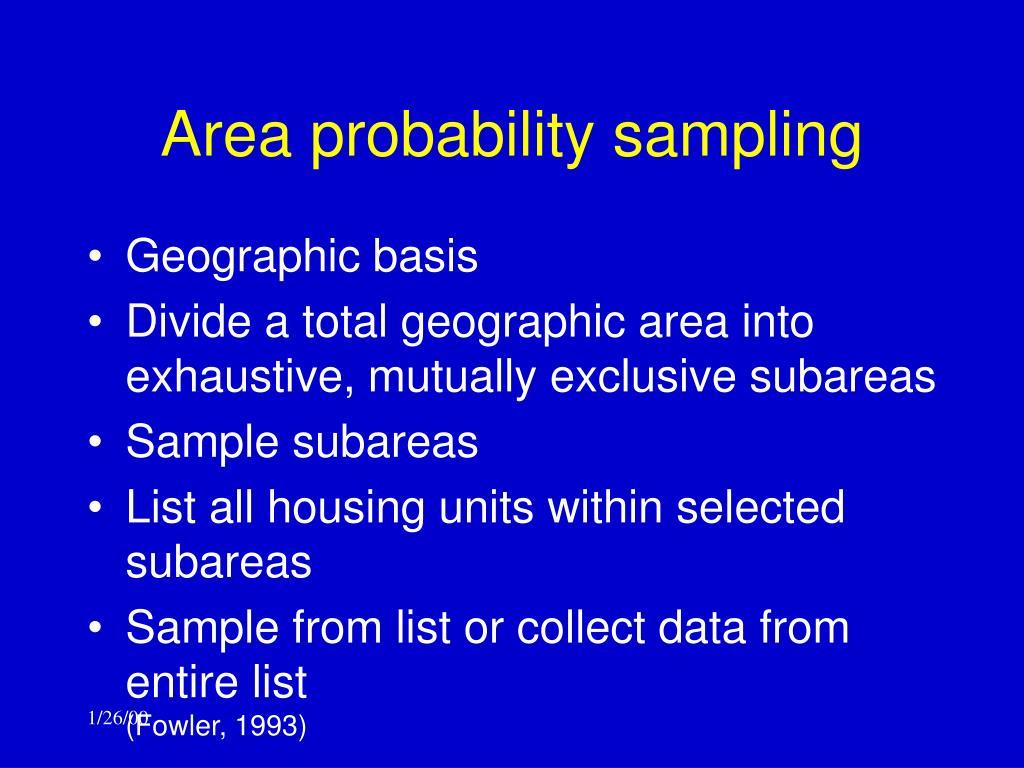 Area probability sampling